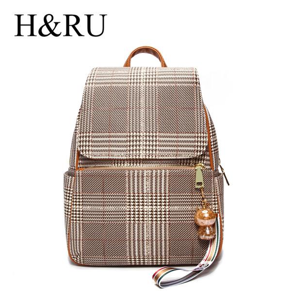 Classic Ladies Girls Check Plaid School Backpack Travel Bag Bookbag Rucksuck Hands Free Bags Light Brown