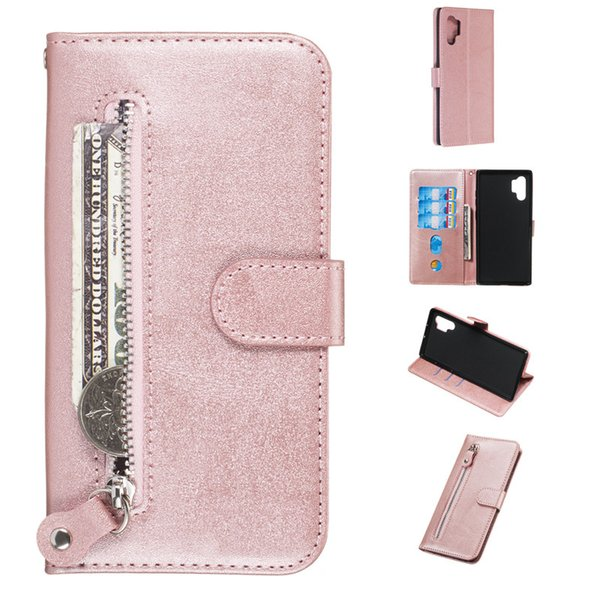 Pure zipper Leather case For Samsung Galaxy Note 8/Note 9/Note 10/Note 10 Pro Cover Filp Stand Wallet With Card Slot