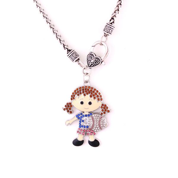 Huilin toptan renkli kaba link zinciri siyah kolye ve sevimli beyzbol kız kolye takı için kız arkadaşı için hediye ile