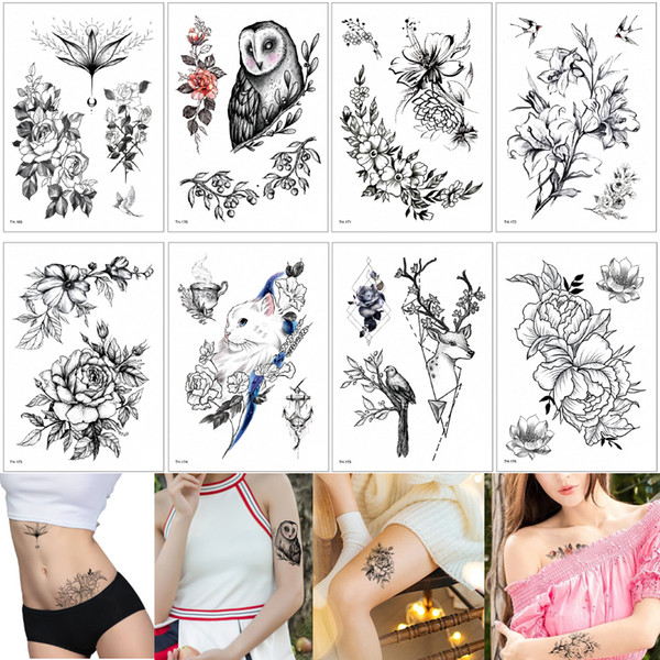 Fake Black Blooming Flower Temporary Body Tattoos Sticker Waterproof Painting for Women Men Arm Back Wrist Art Tattoo Decal Large Fashion 3D