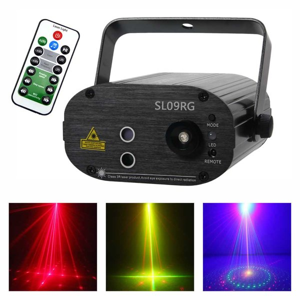 AUCD Mini 9 Big Red Green Laser Gobos Projector Lights 3W Blue LED Mixing Effect Home Party Show Stage Lighting Remote Music SL09RG
