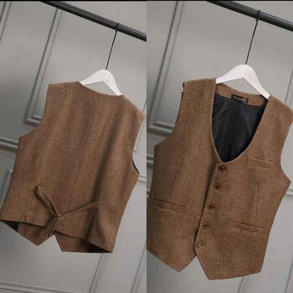 Kahverengi Yün Tüvit Damat Yelekler İngiliz Tarzı Vintage Örgün Damat Giyim Suit Yelek erkek Düğün Smokin Yelek Artı Boyutu
