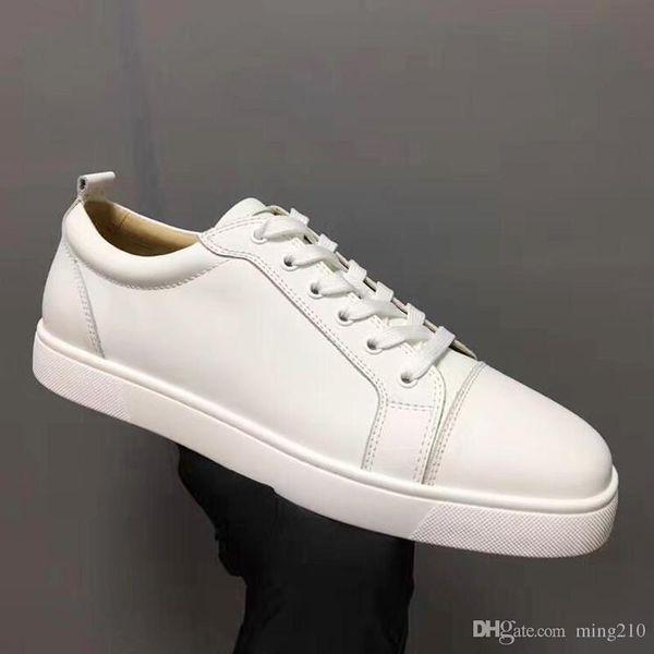 Sapatos de grife Mens Designer Tênis Baixo corte Spikes Flats sapatos Fundo Vermelho Para Homens e Mulheres Sapatilhas De Couro Sapatos de Festa Designer