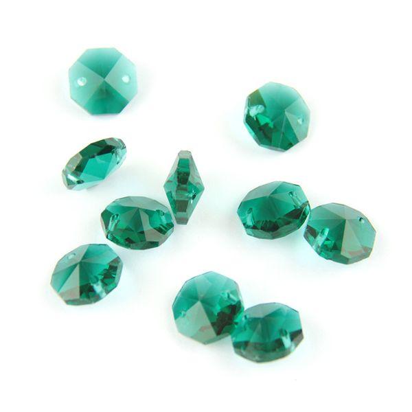 Due fori Zircom verde 14mm di cristallo perline ottagono per belle decorazioni decorative per il lampadario a sospensione in casa vendere come le torte calde