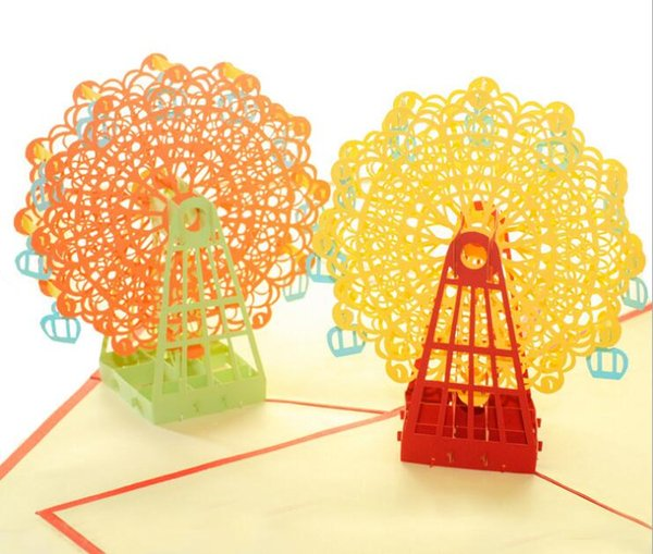 3D card art ferris wheel pattern greeting cards gifts birthday card design handmade creative paper carving hollow gift card for decoration