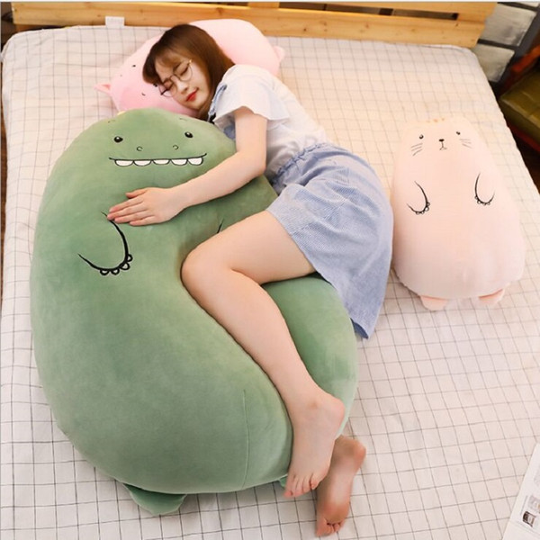 top popular 50 cm Dinosaur pillow plush toys cute pig doll girls bed holding a sleeping doll long pillow cushion doll 2020