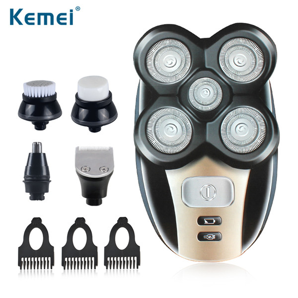 Kemei 5 in 1 Electric Shaver 5 Blade Heads Electric Shaving Rechargeable Razors Multifunction Men Face Care Washable KM-1000