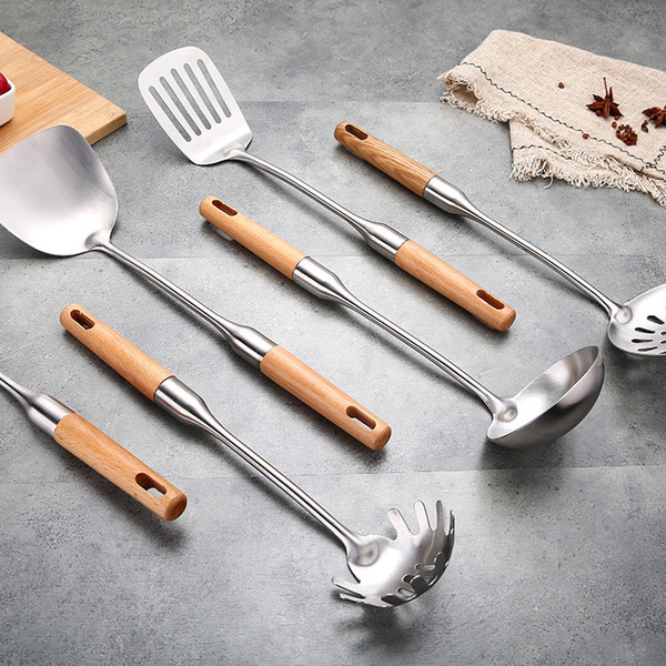 2019 Wood Handle Kitchen Utensils Stainless Steel Cooking Utensils Cooking  Tool Metal Utensils Home Restaurant Star Hotel From Fancywilliam, $2.14 |  ...