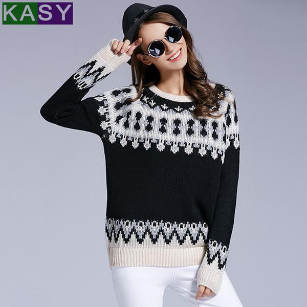 2019 Frauen Casual Herbst Winter Rundhalsausschnitt Schwarz Jacquard Pullover Outfits Langarm Muster Strick Pullover Pullover