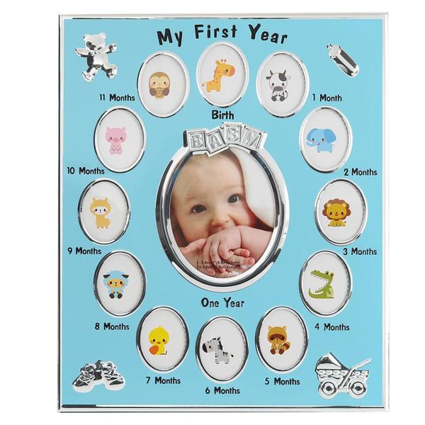 Großhandel Rosa Blau Weiß 12 Monate 1 Jahr Foto Baby Kinder Geburtstag Geschenk Dekorationen Rahmen Bilderrahmen Taufe Geschenk Wohnkultur Von