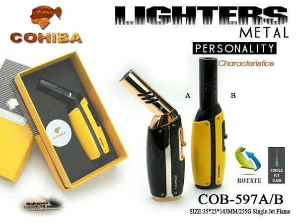 COHIBA Multifunctional Flame Lighter Can Turn Head Windproof Refillable Butane Gas Cigar jet Lighter Two Colors Torch W/Gift Box