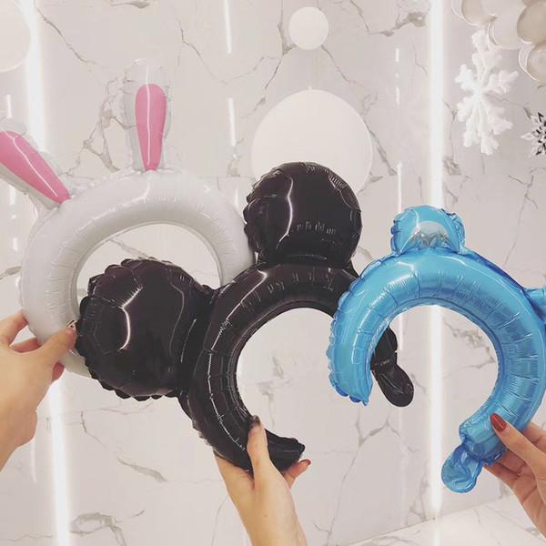 Explosion hair accessories aluminum film balloon white rabbit cute pig bear children birthday tiara headband decoration