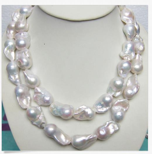 2019HUGE 15-28MM SOUTH SEA GENUINE WHITE BAROQUE PEARL NECKLACE 35 INCH 14K CLASP