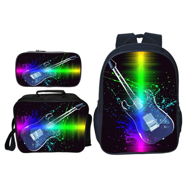 New 3pcs/set New Fashion Printing Stars Guitar Kids Baby School Bags Cool Children Backpacks for Boys Schoolbag Student Suit Bag