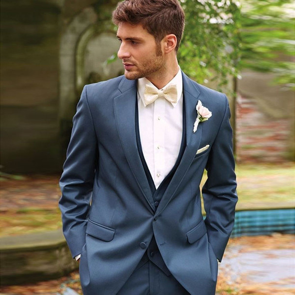 Handsome Designer Mens Suits Slim Fit Wedding Suits For Men With Jacket Vest And Pants Groom Tuxedos Three Pieces Notched Lapel Blazers