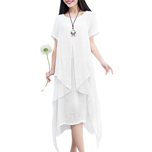 Женщины ретро плюс размер платья нерегулярные ярусы асимметричный подол свободные платье с коротким рукавом элегантный летний халат Femme Ete 2019