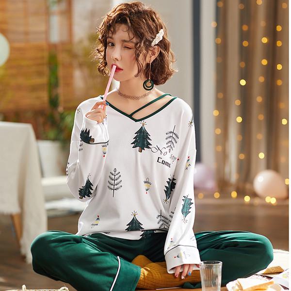BZEL Pijama Para As Mulheres de Manga Longa Pijamas Pinheiro Pijama Mujer Pijama Mulheres Lingerie Lingerie Sono Salão de Duas Peças Conjunto