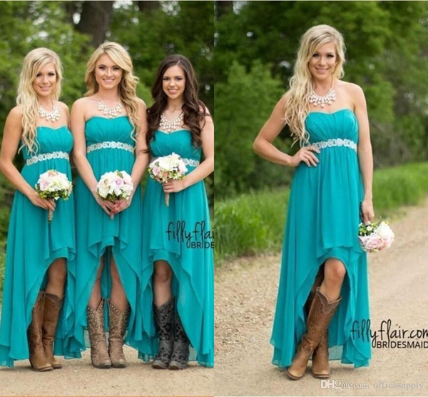 Cheap Country Bridesmaid Dresses 2019 Teal Turquoise Chiffon Sweetheart High Low Beach Wedding Guest Maid Honor Gowns Custom Made