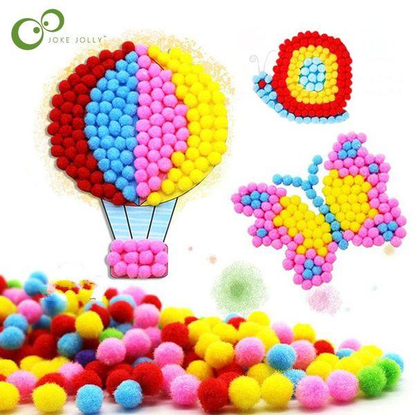 Bebé niños creativo DIY bola de la felpa pegatinas de pintura jardín de infantes niños material hecho a mano de dibujos animados rompecabezas artesanía juguete C5