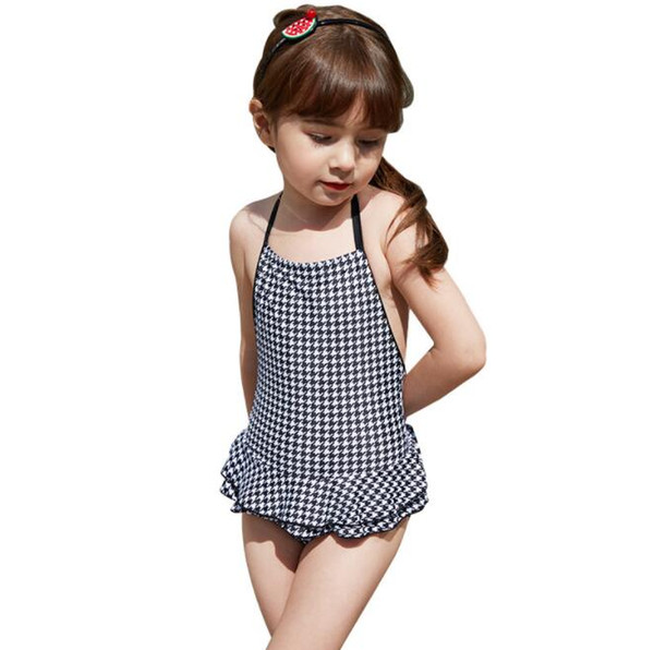 kids girls swimming suit one-piece lace up swimsuit children backless swimwear European and American simple style BY0835