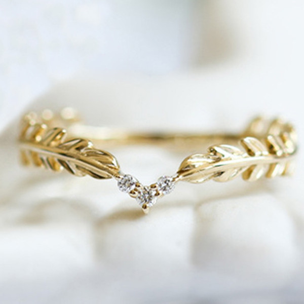 High Quality Fashion 14 K Gold Plated Small Fresh Style spring leaves feather Ring Stack Wearing Tail Ring