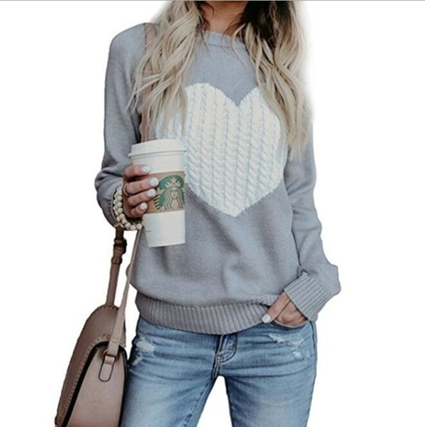 Automne Hiver Femmes Pulls Pulls À Manches Longues Pull Slim Coeur Tricoté Cavaliers Sueter Mujer T190830