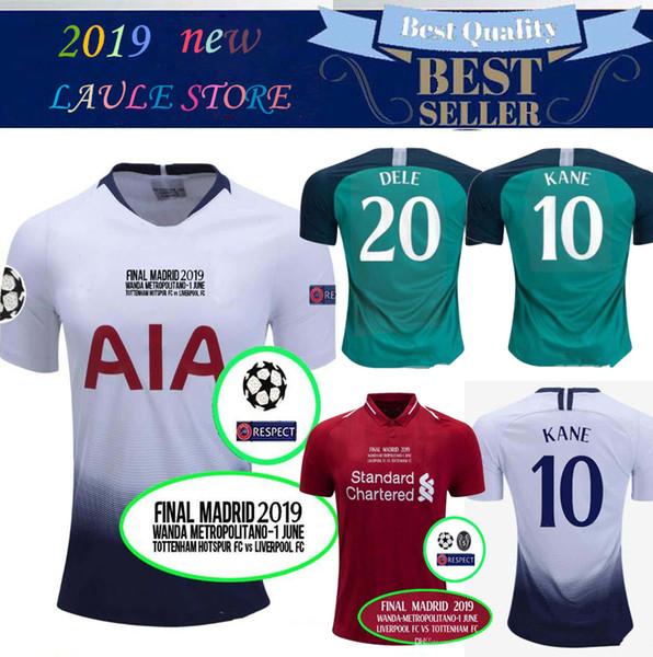 top popular 18 19 Tottenhames Champions League Final Football Jersey SALAH MANE FIRMINO SON KANE MILNER ERIKSEN DELE Final Spurs soccer Jersey 2019