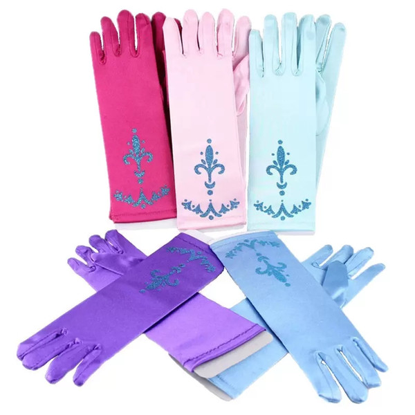 2019 24cm Children Party Gloves Cosplay Frozen Princess Gloves Costume Dresses Dance Stage Gloves For Girls Christmas Gift 9 Colors