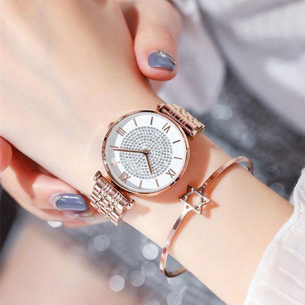 Luxus Rose Gold Frauen Quarz Armband Uhren 2019 Top Brand Designer Gypsophila Voller Stahl Wasserdichte Weibliche Uhr reloj mujer