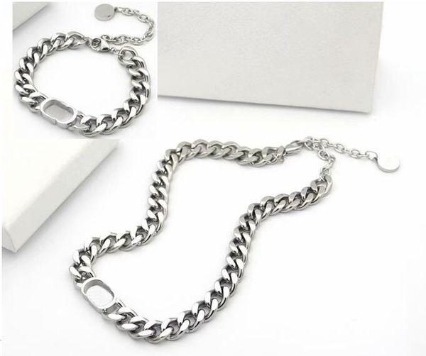 top popular Europe America Jewelry Sets Lady Titanium Steel Engrave D Letter 18K Gold Thick Chain Necklaces Bracelets Sets 3 Color 2020
