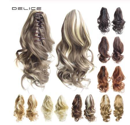 16inches das mulheres encaracolado garra rabo de cavalo curto clip-in extensões de cabelo preto marrom onda sintética cabelo pouco rabo de cavalo 90 g / peça