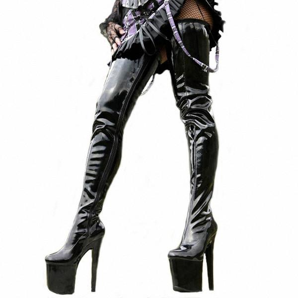 Platform Süper Yüksek Topuk Çizmeler Uyluk Yüksek Sivri Burun Özel Bacak Kadınlar Seksi Ayakkabı Bayanlar Gece Kulübü Dans Botları