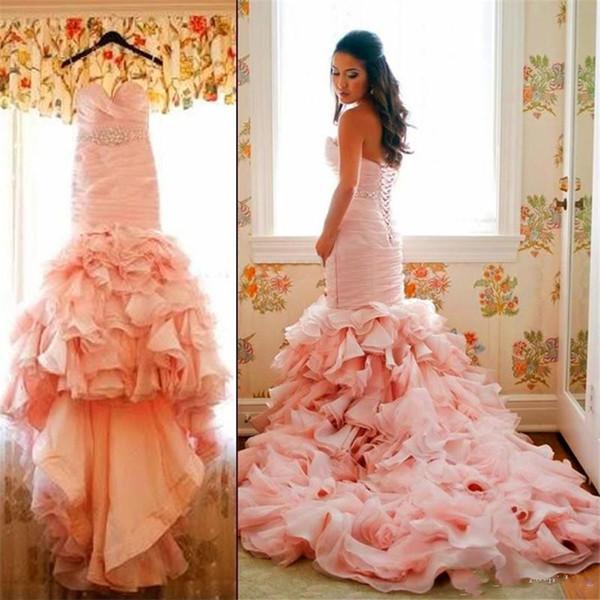 Romantic Ruffles Mermaid Wedding Dresses Sweethheart Lace-up Back Spring Shiny Crystals Sash Glamorous Blush Pink Organza Bridal Gowns