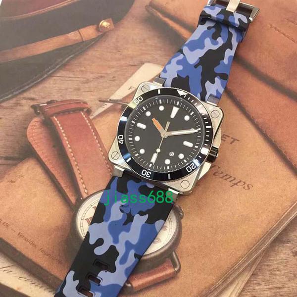 Nuevo estilo BR 03-92 Diver Mens Automático Mecánico Herencia Edición limitada Bell Aviation Hombres Relojes deportivos Reloj de esfera azul de goma