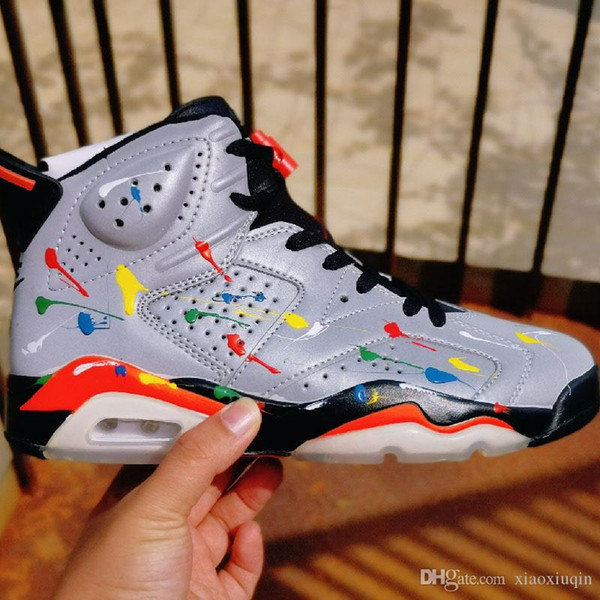 Erkek Jumpman kutu boyutu ile Gümüş Yansıtıcı 3M Timsah Fransız Mavi yeni lebron james ayakkabı tenis AJ6 6s basketbol ayakkabıları Retro 7 13