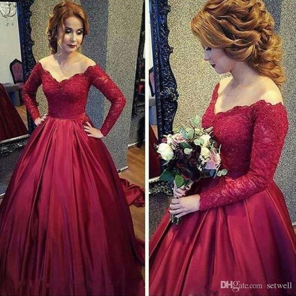 2018 foncé Boule rouge Robe du soir Robes à manches longues en dentelle Robes de soirée élégante princesse col en V Parti robe de bal