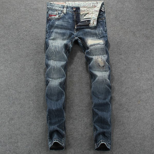 Trend Loch Mann Jeans Retro Tun Schwarz Grau Punk Wind Schlank Kleine Füße Cowboy Hose Männlich