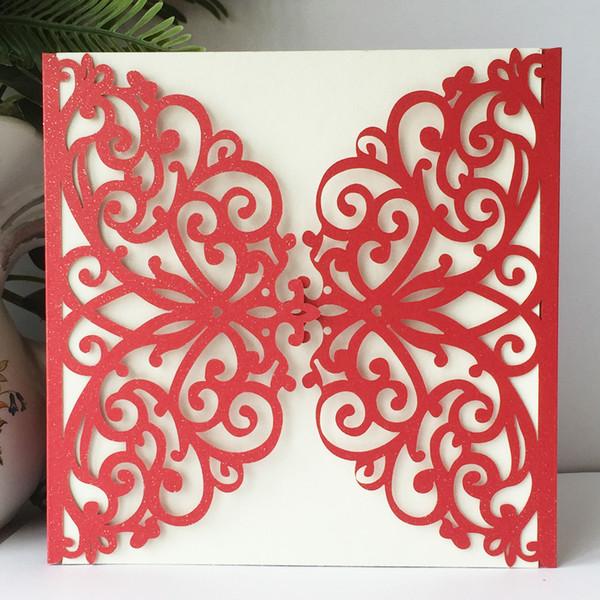 Compre 50 Unids Exquisit Mariposa Roja Corte Por Láser Papel
