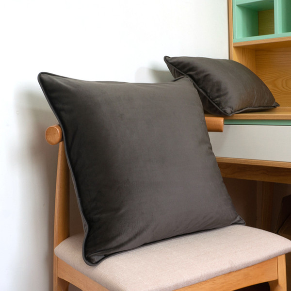 Soft Dark Gary Velvet Cushion Cover Pillow Case Bed Sofa Pillow Cover Piping Design No Balling-up Without Stuffing