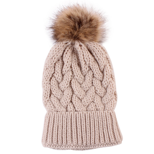 winter hats for women pompom New Keep Warm Winter Hats Knitted Wool Hemming gorros mujer invierno T20