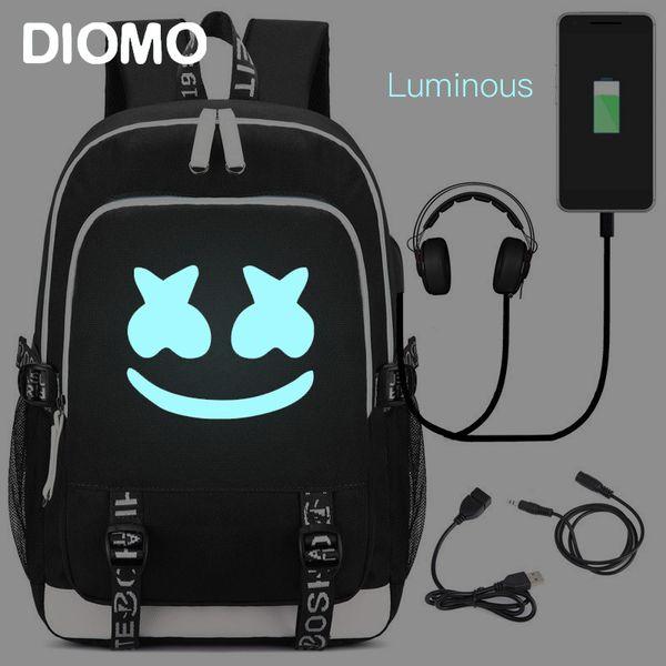 DIMOM Marshmello Luminous USB Laptop Backpacks 2019 American Mystery DJ School Bag for Girls Boys Teenagers Children's Bookbag