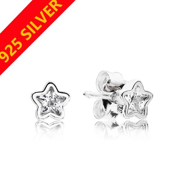 Belles femmes mignonnes étoiles boucles d'oreilles boîte d'origine pour Pandora Crystal diamant petite boucle d'oreille ensemble pour les filles cadeau bijoux