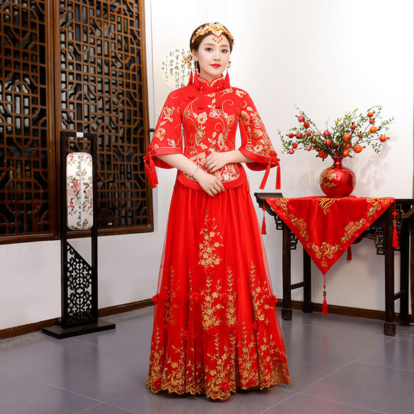 Rojo tradicional Show novia bordado cheongsam casado trajes de estilo chino vestido formal de la boda femenina en el extranjero Qipao chino