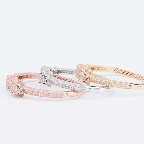 Designer Jewelry Luxury Leopard Head Bracelets Woman Diamond Animal Bangle Charms Wedding Engagement Fine Jewelry