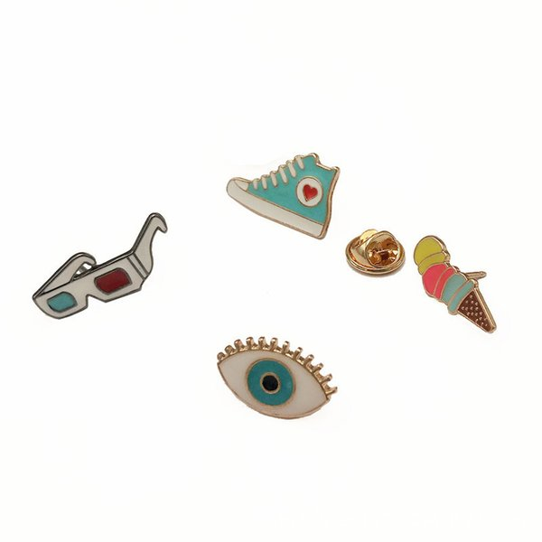 Cute Badge Alloy Pin Brooch for Clothing Bag Accessories Clothes Trim Cloth Decoration for Unisex Fashion Supplies