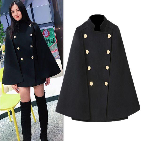 2019 autumn winter women medium long black blazer cloak coats fashion stand collar double breasted cape woolen jackets jc3378