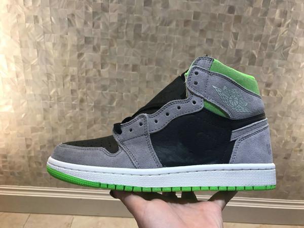 2019 nuovi 1 Retro Alta OG / grigio verde Uomini / donne / bambini scarpe da basket di alta qualità 1s antifur grigio gioventù grande ragazzo scarpe sportive atletiche