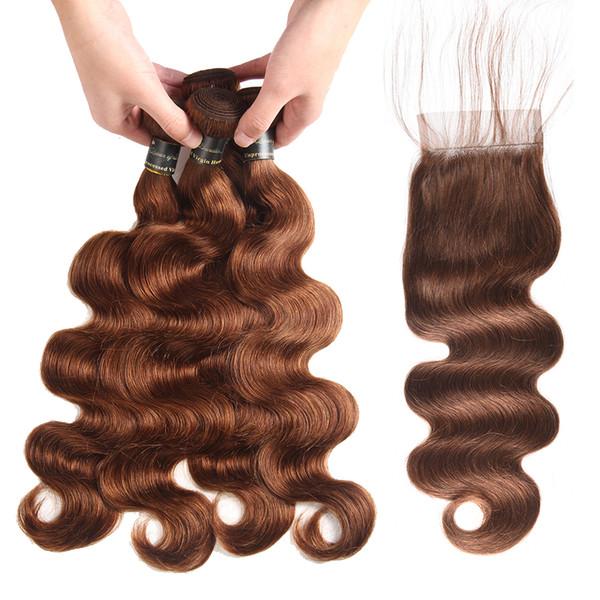 3 pacchi con chiusura in pizzo colore 2 e 4 fasci di capelli dell'onda corpo marrone scuro con chiusura capelli umani peruviani brasiliani vergini indiani