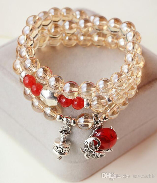 Wholesale 2 Styles Natural Fox Beads Crystal Natural Stone Bracelet Multilayer Beaded Bracelets For Women Girls Lady Jewelry