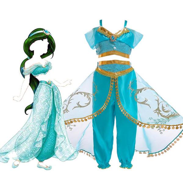 Kızlar Aladdin cosplay giyim 2019 Yeni Çocuk karikatür kolsuz tops + pantolon Çocuklar Için 2 adet setleri Parti Kostümleri C12 suits